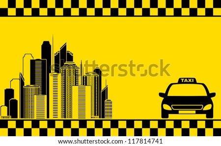 urban yellow business card with taxi and city silhouette