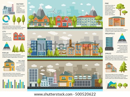 Urbanity infographics template with environmental infrastructure in megapolis factories and residential houses charts and statistics vector illustration