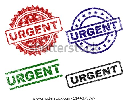 URGENT seal prints with damaged texture. Black, green,red,blue vector rubber prints of URGENT caption with retro texture. Rubber seals with circle, rectangle, rosette shapes.