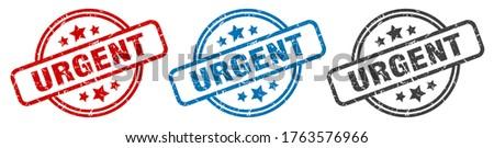 urgent stamp. urgent round isolated sign. urgent label set