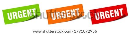 urgent sticker set. urgent paper peeler sign Stockfoto ©