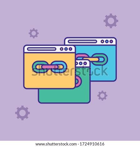 Url link vector icon. Hyperlink chain symbol. Internet URL or webpage url link flat vector illustration Foto d'archivio ©
