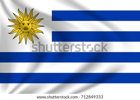 Uruguay flag background with cloth texture. Uruguay Flag vector illustration.