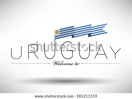 Uruguay Flag with Typography Design #185211359