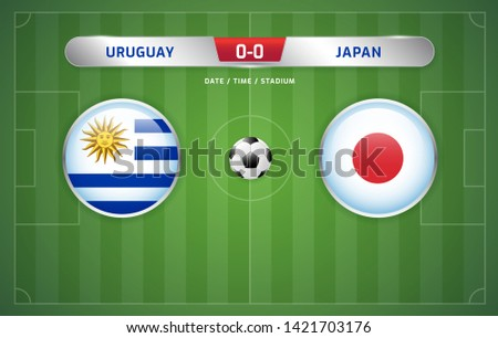 Uruguay vs Japan scoreboard broadcast template for sport soccer south america's tournament 2019 group C and football championship vector illustration