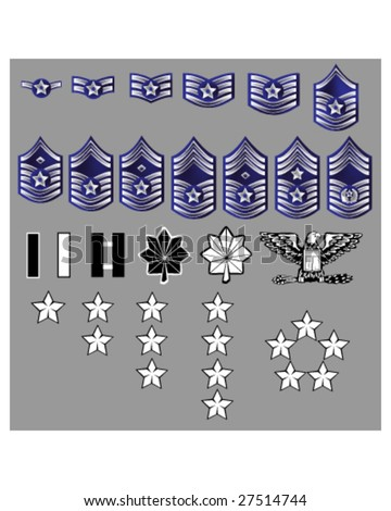 US Air Force rank insignia for officers and enlisted in vector format with texture