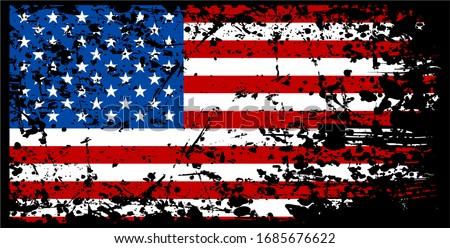 US America Flag Rustic Grunge Distressed Effect Banner Background Vintage Vector Illustration Isolated on Black Background