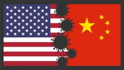 US America vs China Flags World Politics Background Concept Vector Illustration