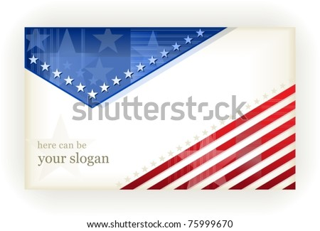 US american flag themed background, or card. No transparencies, eps8 file. Space for your text.