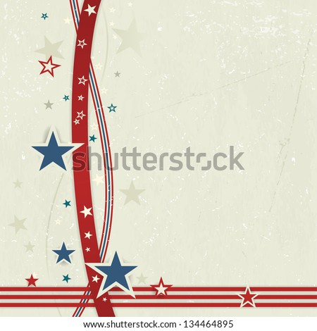US American flag themed background, or card with wavy lines and stars in red and blue forming a patriotic border on a distressed, worn background.  Great for the 4th of July.