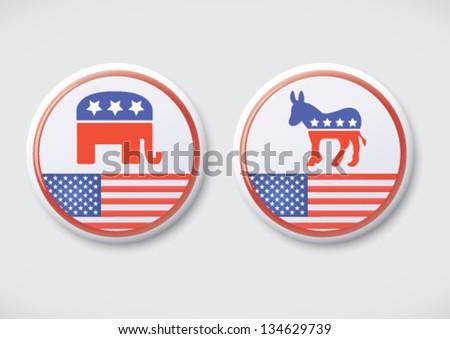 US, American Politics - Republican & Democratic party button badge.
