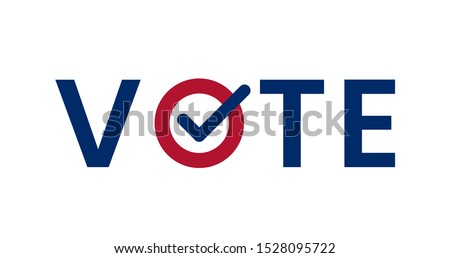 US American presidential election 2020. Vote word with checkmark symbol inside. Political election campaign logo. Applicable as part of badge design. Flat vector illustration