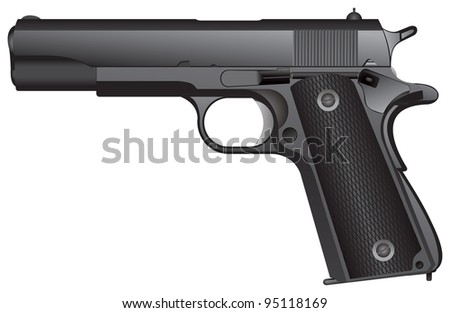 US army Automatic Pistol Caliber .45 vector image, used in World War I, World War II, the Korean War, and the Vietnam War - stock vector