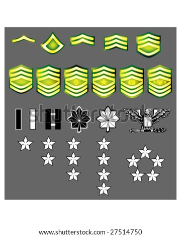 US Army rank insignia for officers and enlisted in vector format with