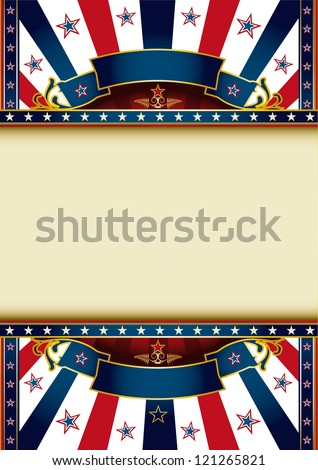 US background.  A poster with tricolor sunbeams and a large frame for your message
