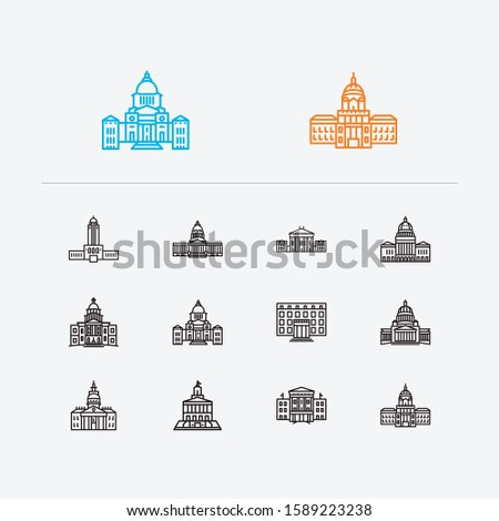 us capitols icons set alaska