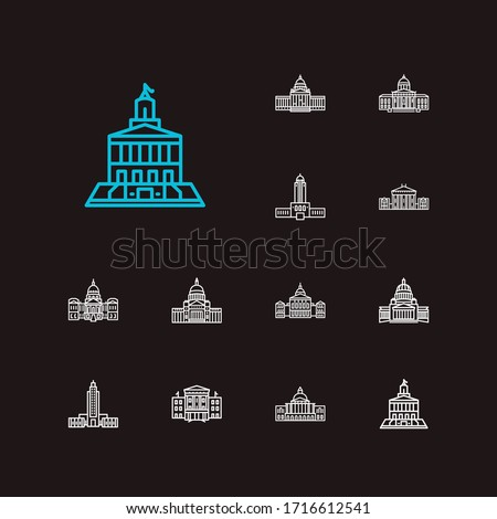 Us capitols icons set. Arkansas state capitol and us capitols icons with georgia state capitol, louisiana state capitol and oklahoma state capitol. Set of home for web app logo UI design.