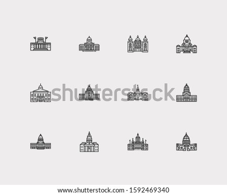 Us capitols icons set. Connecticut state capitol and us capitols icons with delaware state capitol, structure and government house. Set of gothic for web app logo UI design.