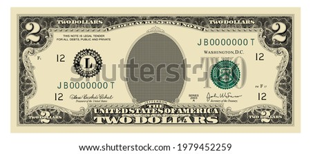 US Dollars 2 banknote  -American dollar bill cash money isolated on white background - two dollars