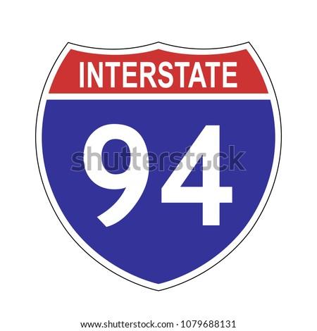 us interstate 94 highway sign...