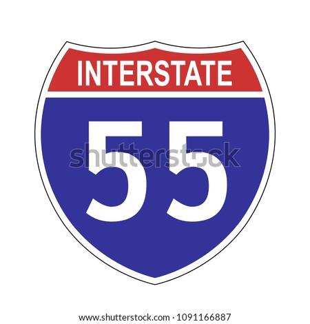 US Interstate 55 highway sign with route number and text, vector illustration.