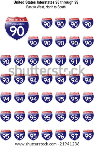 US Interstate Signs I-90 through I-99 with their respective states, with reflective-looking surface.
