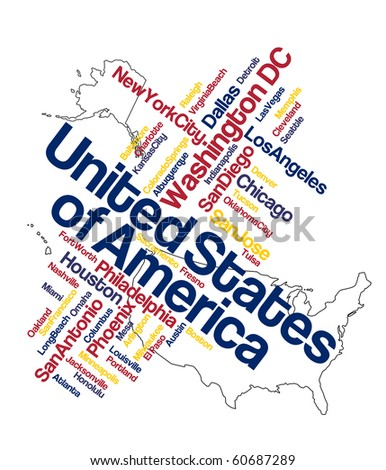 US map and words cloud with larger cities