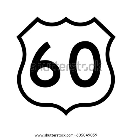 US route 60, filled with white