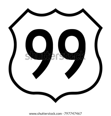 US route 99, filled with white