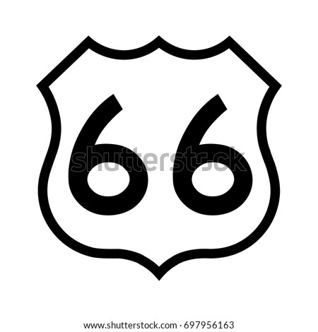 US route 66, filled with white. Route 66 sign