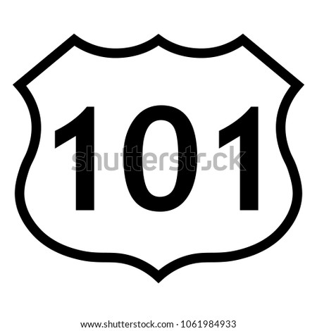 US route 101 sign, black and white shield sign with route number, vector illustration.