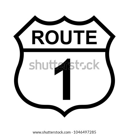 US route 1 sign, shield sign with route number and text, vector illustration.
