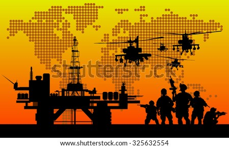 us soldier with oil rigs on the