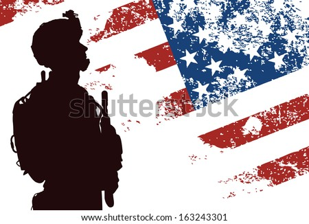us soldier with the american