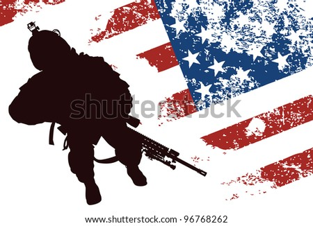 US soldier with the American Flag on the background