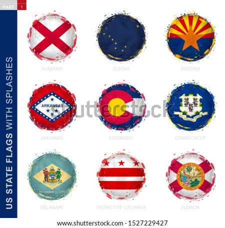 us state flag collection  round