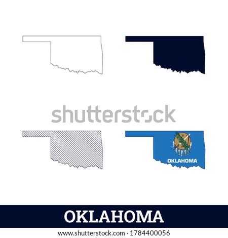 us state oklahoma map with flag