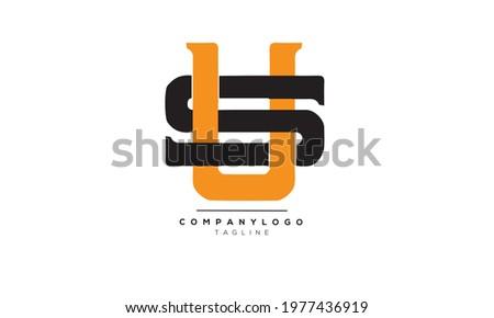 US SU initials monogram letter text alphabet logo design Stok fotoğraf ©