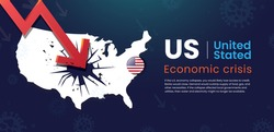 US United States Economic Crisis Low interest rate with recession in stock market financial investment decline in the dollar