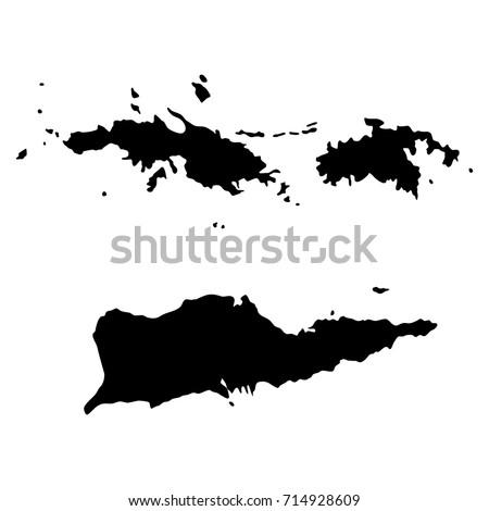 us virgin islands black  map on