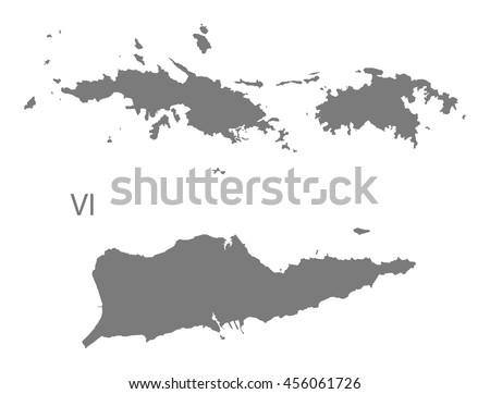 US Virgin Islands Map grey