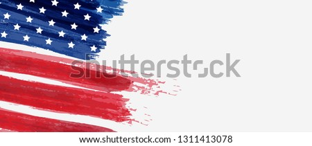 USA abstract grunge painted flag horizontal banner. Template for United States of America national holiday banner, greeting card, invitation, poster, flyer, etc.
