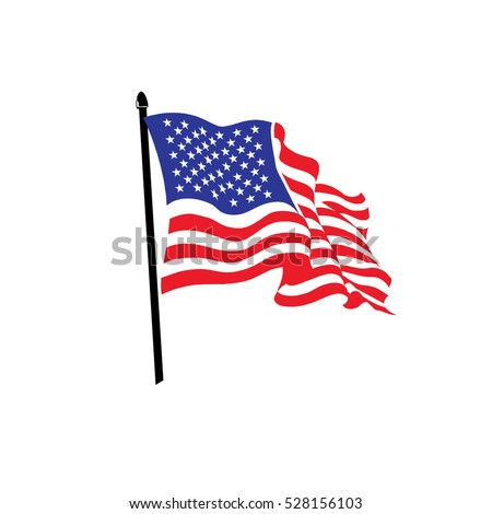 USA, America and United States flag curved.