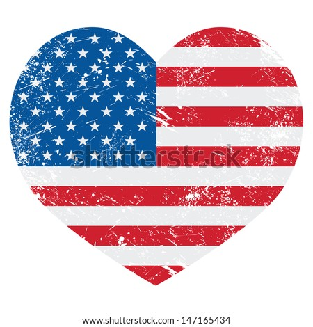 usa america retro heart flag  ...