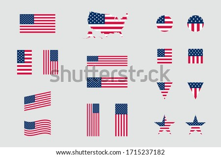 USA American Flag Icon Different Shapes Flat Vector Set Foto stock ©