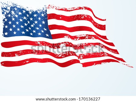 usa american flag in grunge