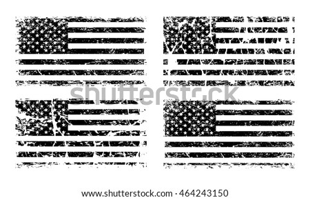 USA American grunge flag set, black isolated on white background, vector illustration. #464243150