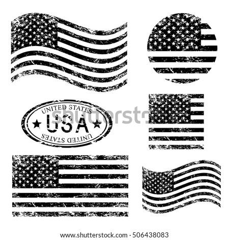 USA American grunge flag set, black isolated on white background, vector illustration. #506438083