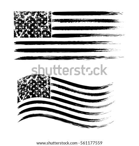 USA American grunge flag set, black isolated on white background, vector illustration. #561177559