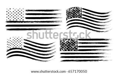 USA American Grunge Flag Set Black Isolated On White Background Vector Illustration